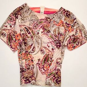 Chico's reversible paisley/stripe relaxed fit top